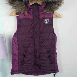 American Eagle Outfitters purple vest w faux fur